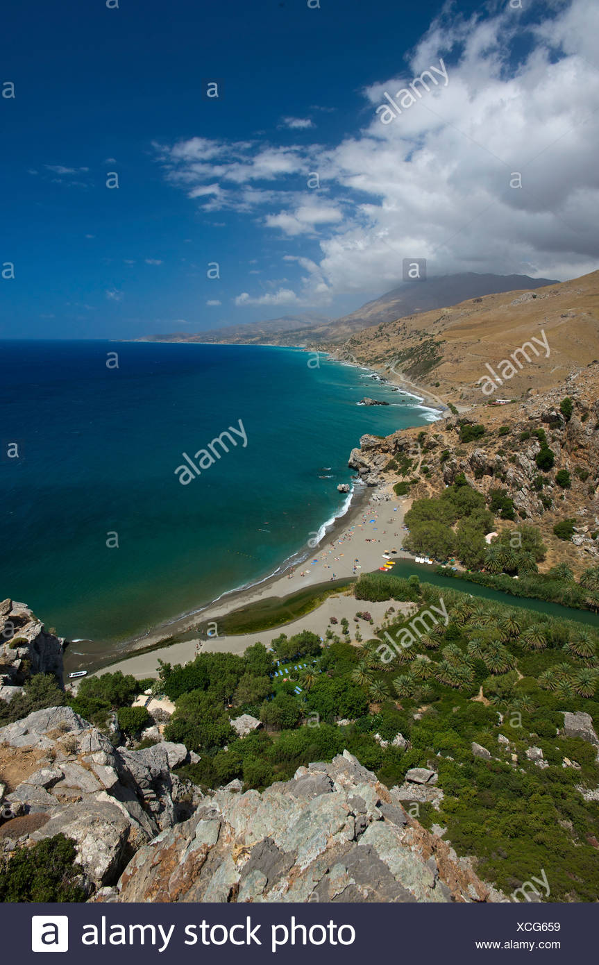 Preveli beach, south coast, Crete, Greece, Europe - Stock Image