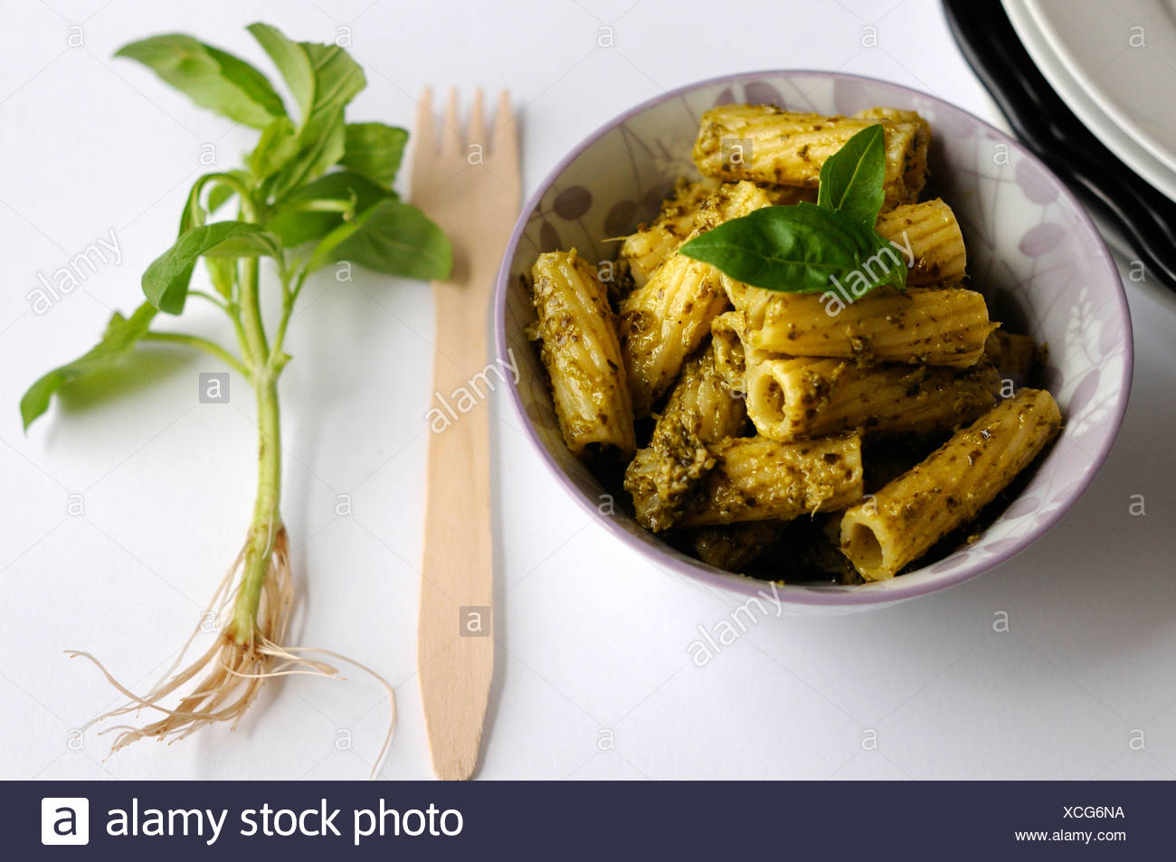 Rigatoni pasta with pesto genovese - Stock Image