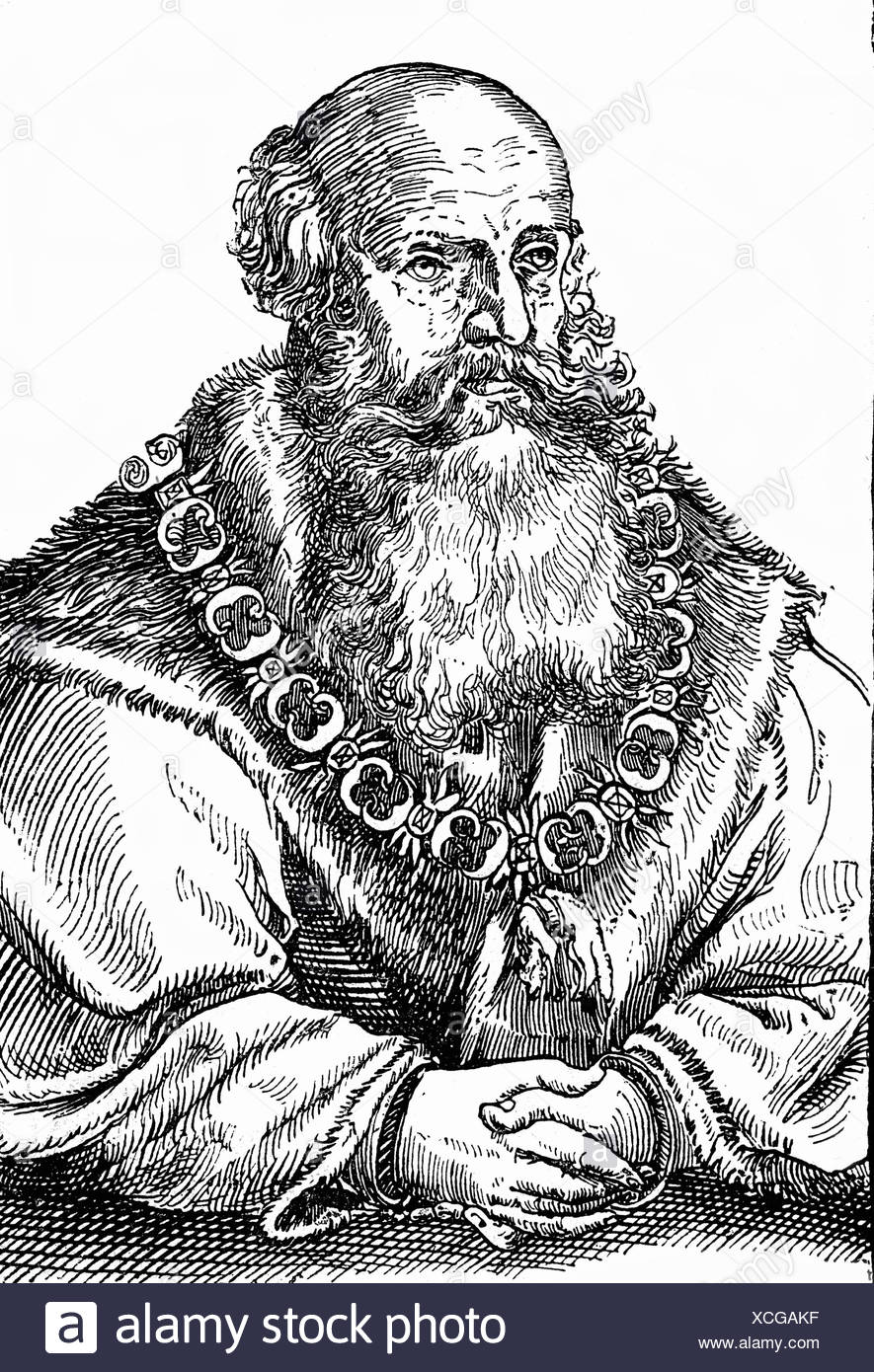 George 'the Bearded', 27.8.1471 - 17.4.1539, Duke of Saxony 1500 - 1539, half length, contemporary woodcut, 16th century, Additional-Rights-Clearances-NA - Stock Image