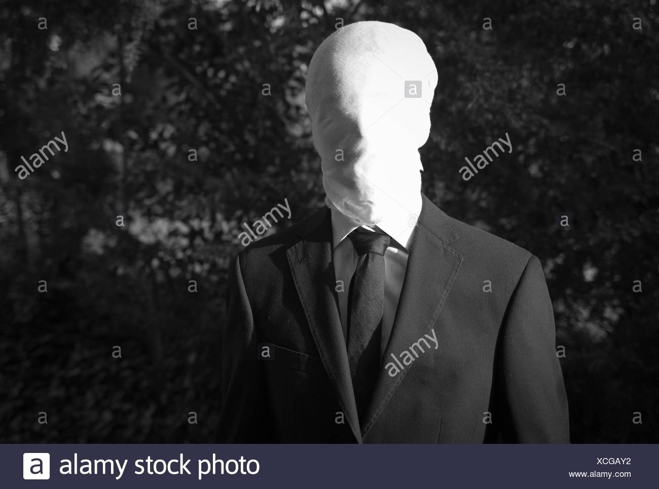 Faceless Halloween Man with covered face - Stock Image