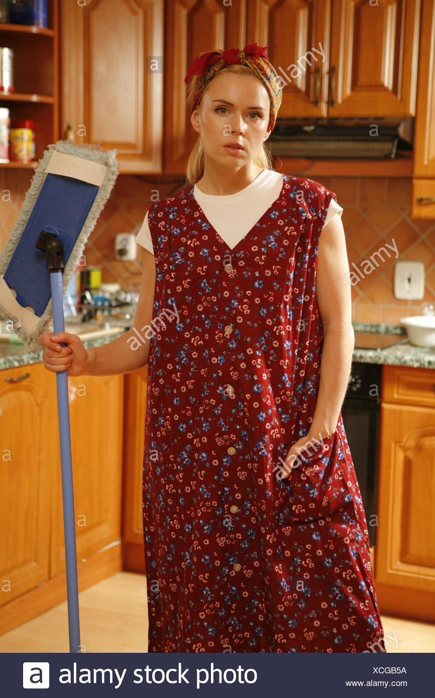 Tired Woman with Mop - Stock Image