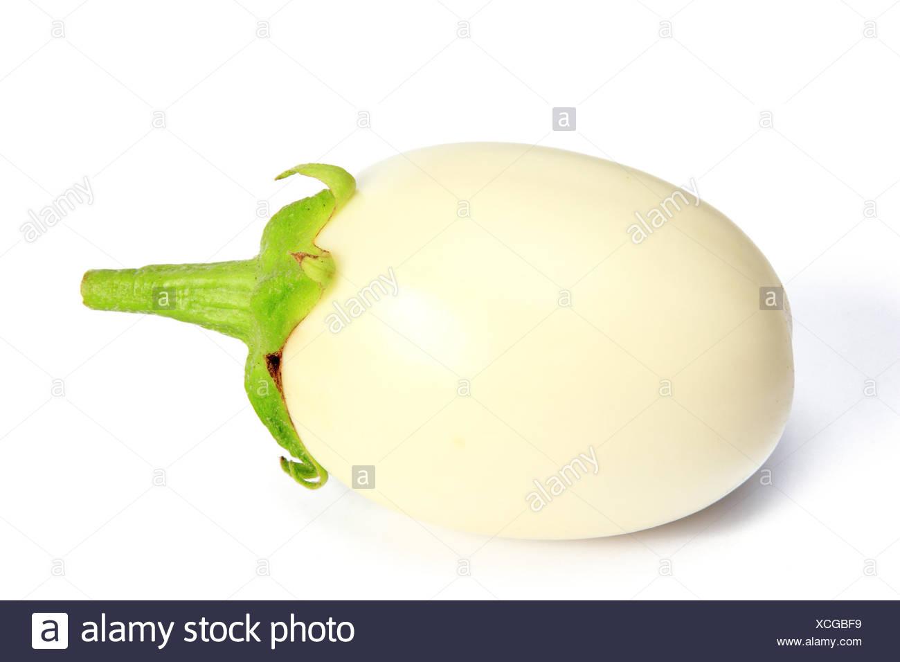 Weiße Aubergine (Solanum melongena) freigestellt vor weißem Hintergrund Stock Photo