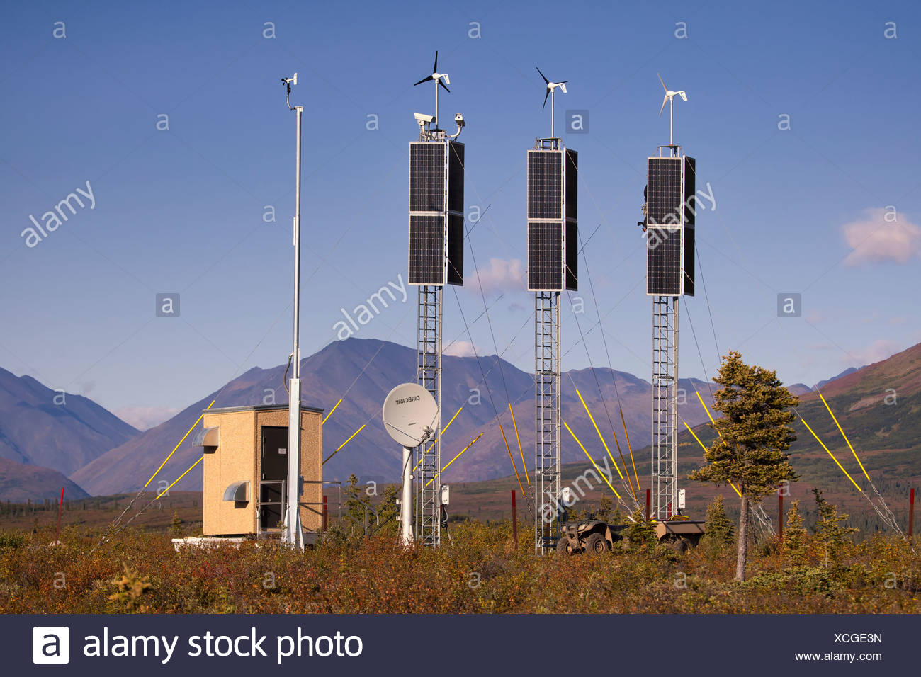View of a solar and wind generation camera site near Rainy Pass and Puntilla Lake,Southcentral Alaska, Fall - Stock Image