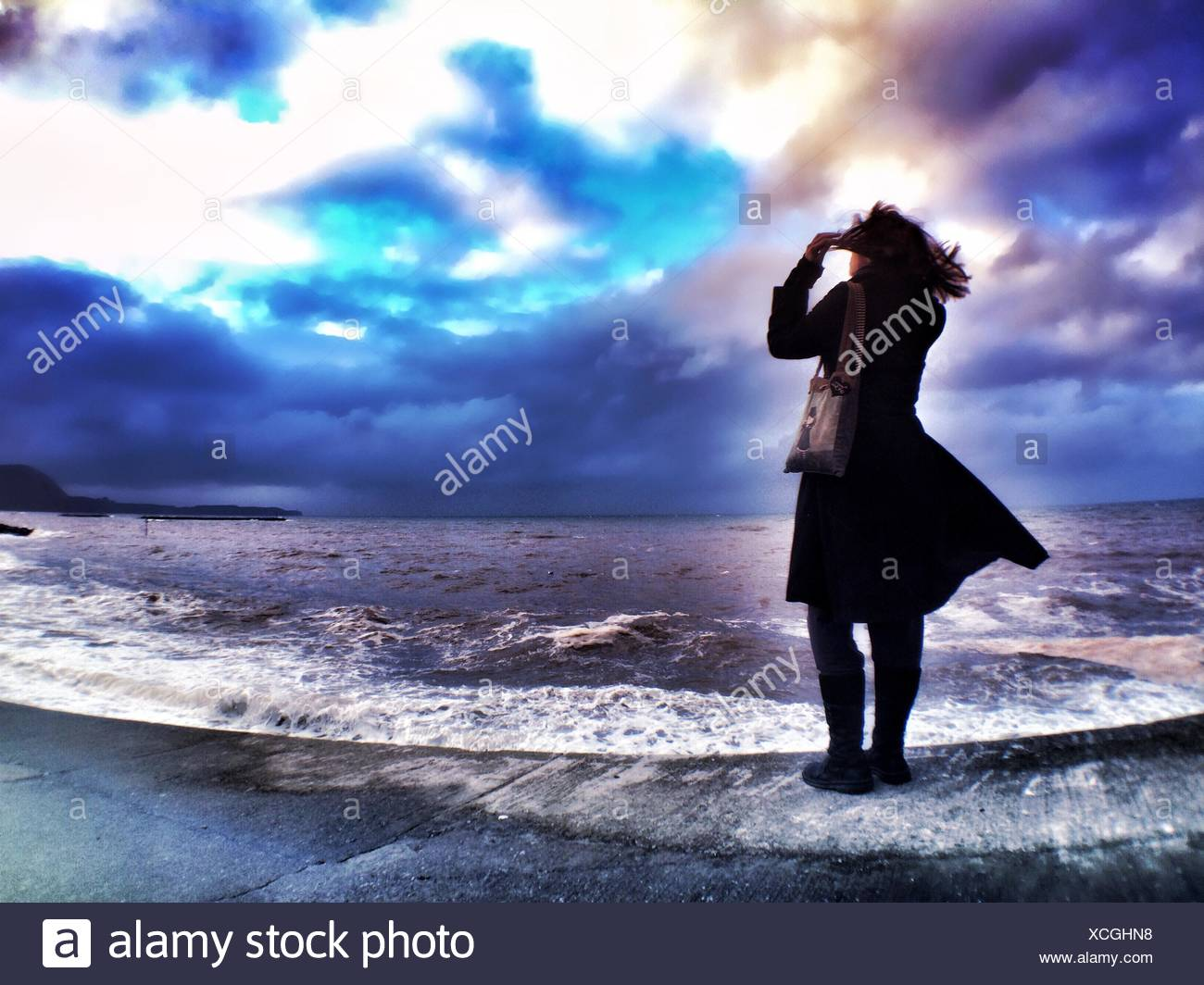Rear View Of Woman Standing At Shore Against Cloudy Sky - Stock Image