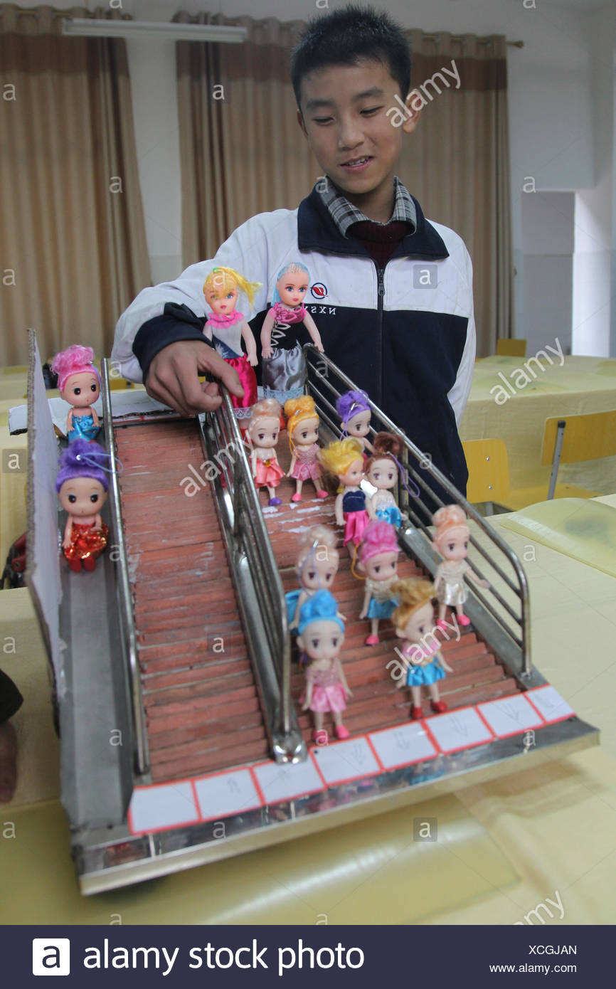 A junior high school student invented an anti crowded and anti trample channel in Changsha, Hunan, China on Wednesday Novemver 28, 2012. This invention has achieved a national patent. - Stock Image