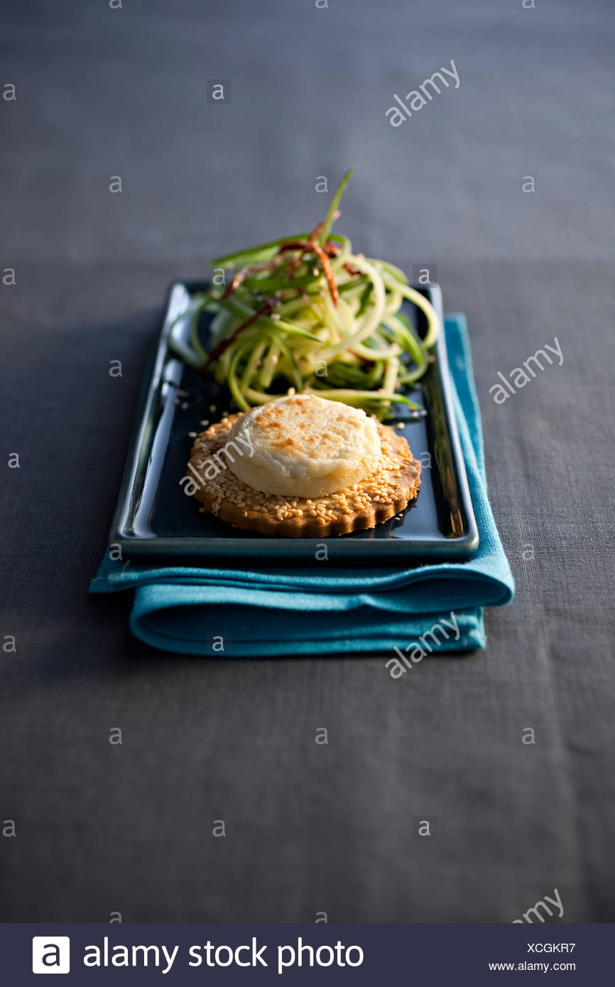Goat Cheese on SŽsame Shortbread - Stock Image