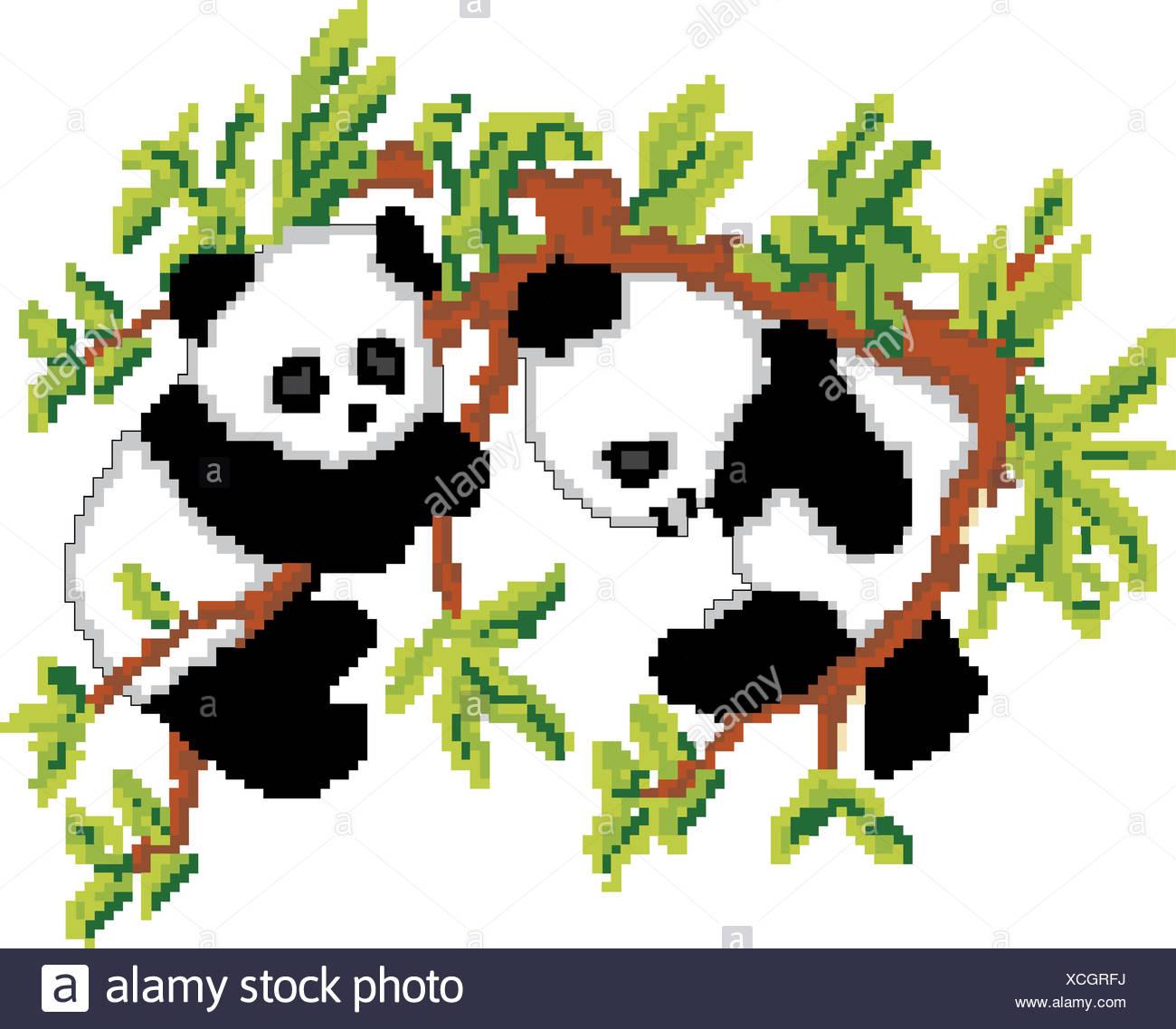 Pandas On Tree Pixel Art Stock Photo 283111462 Alamy