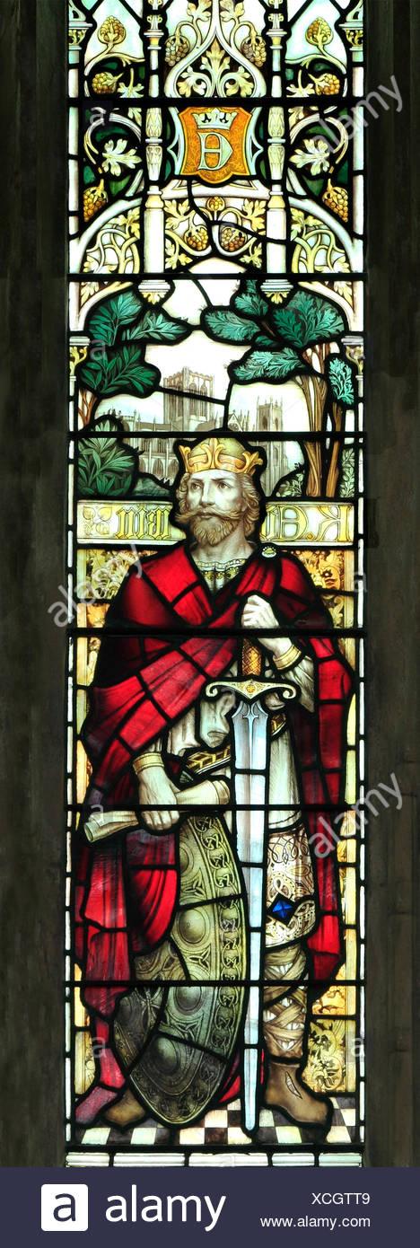 King Edwin of Northumbria, Saxon King, Kings, stained glass window by J. Powell & Son, 1900,  Blakeney, Norfolk England UK - Stock Image