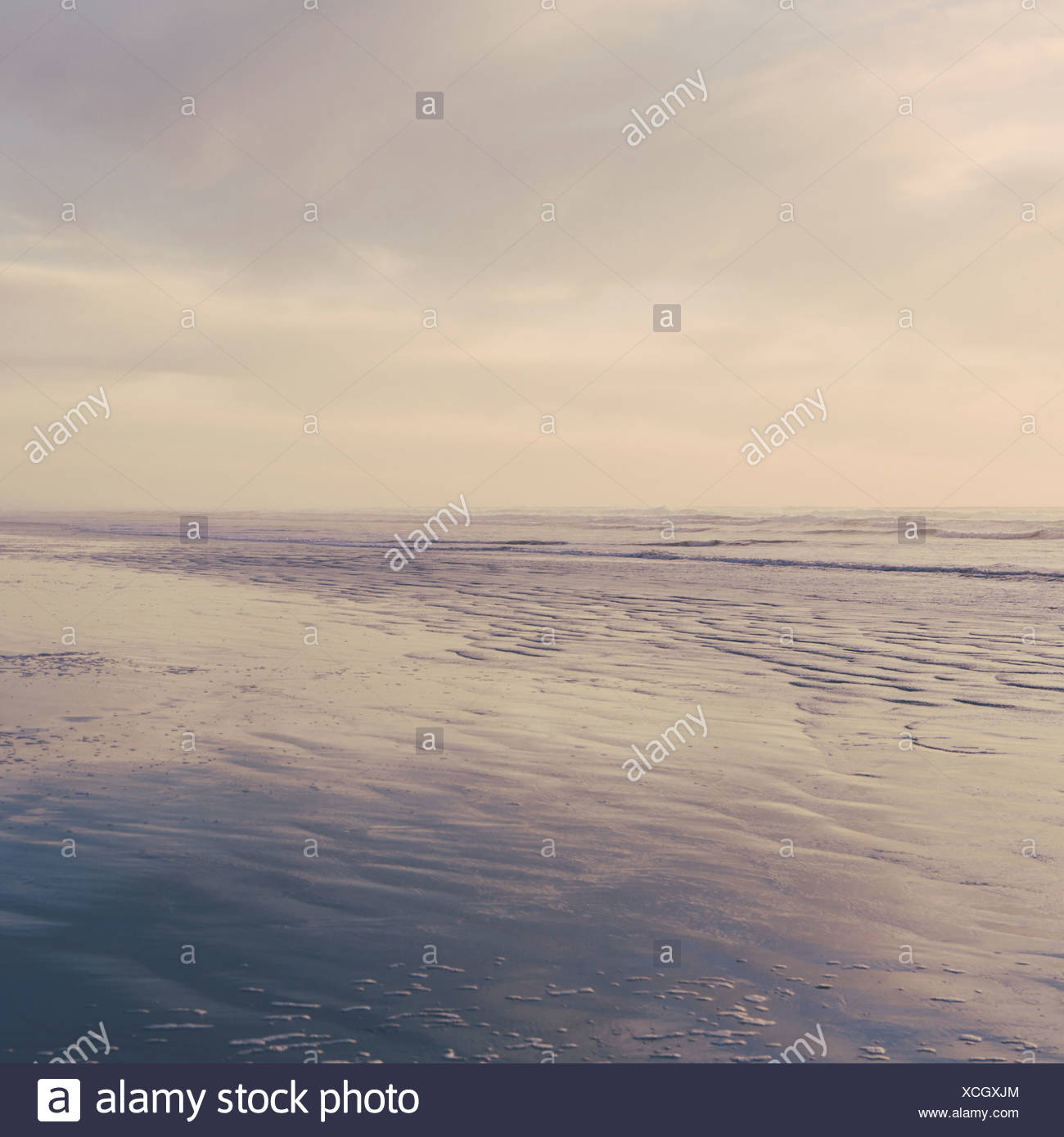 Seascape at dusk off the shores of the Olympic National Park coastline Ripples on the surface of the sea - Stock Image