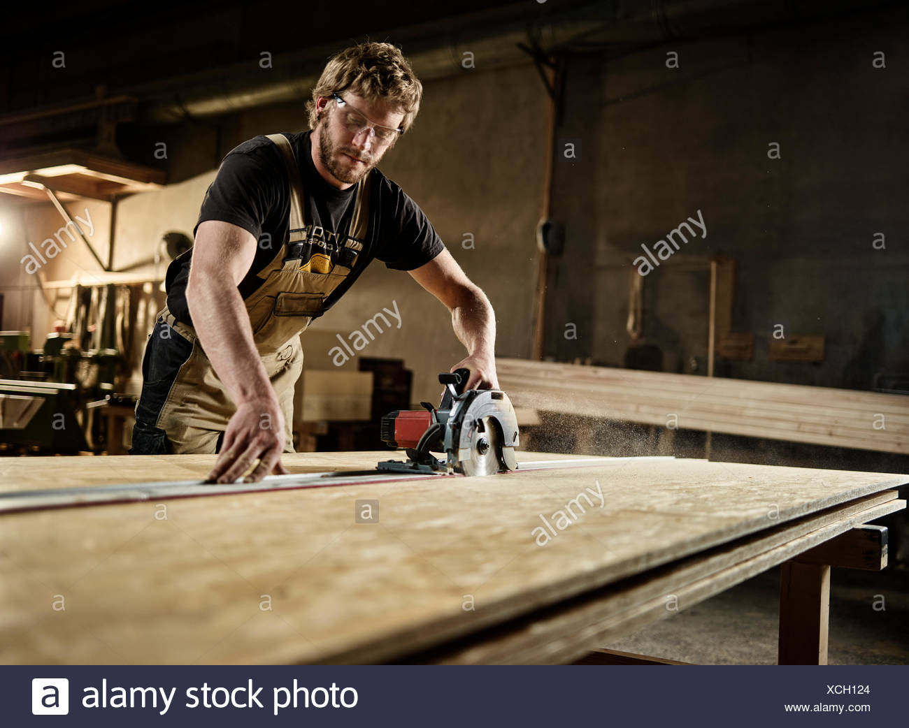 Carpenter cutting chipboard with a circular saw, Austria - Stock Image