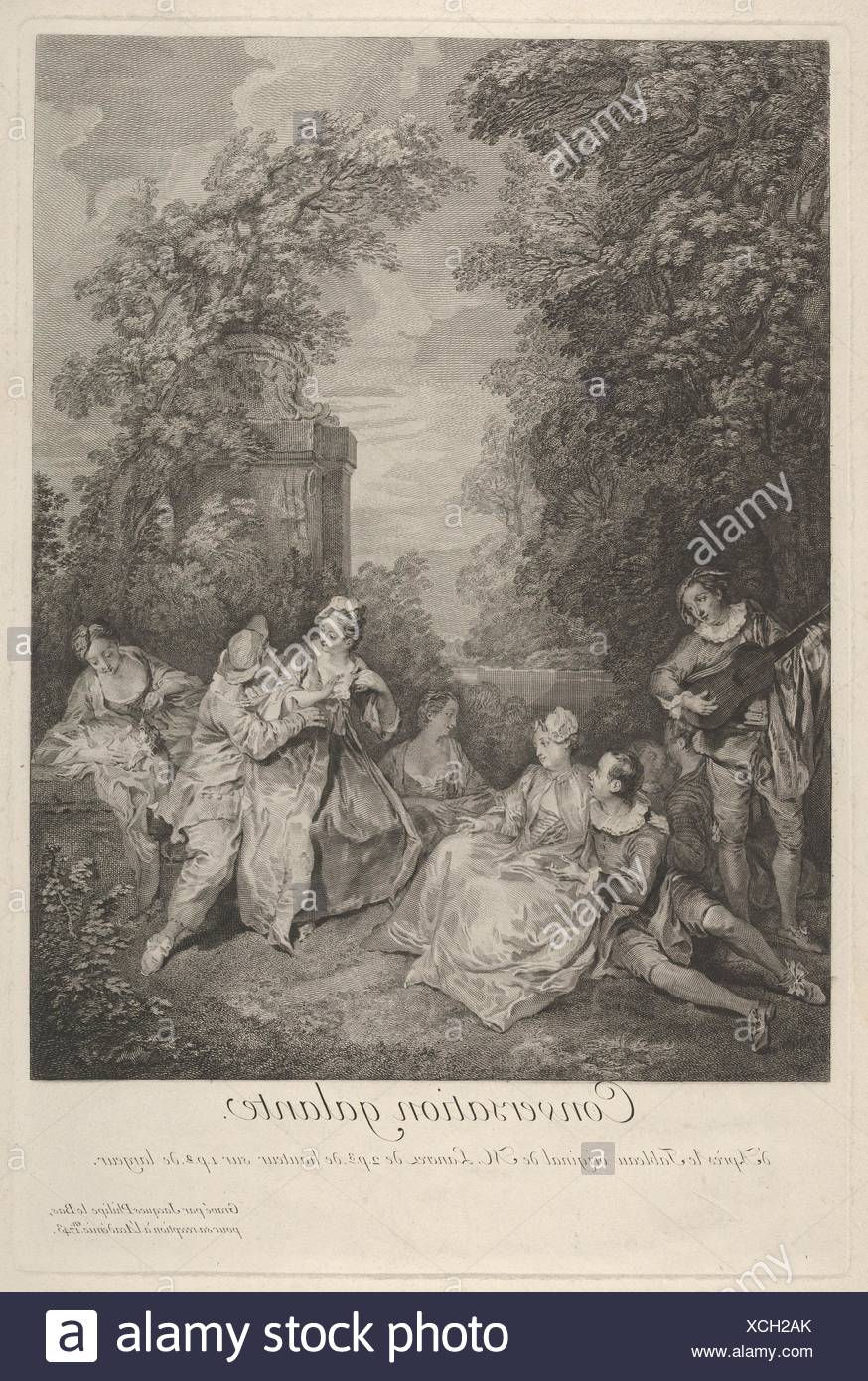 'Gallant conversation' (Conversation galante): couples engage in conversation in a garden setting, at left a musician plays for the group, at right a - Stock Image