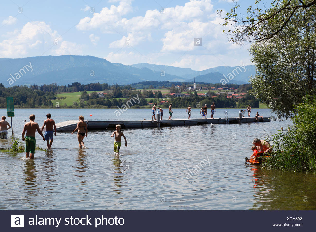 Simssee lake near Stephanskirchen, Neukirchen at back, Chiemgau, Upper Bavaria, Bavaria, Germany, Europe, PublicGround - Stock Image