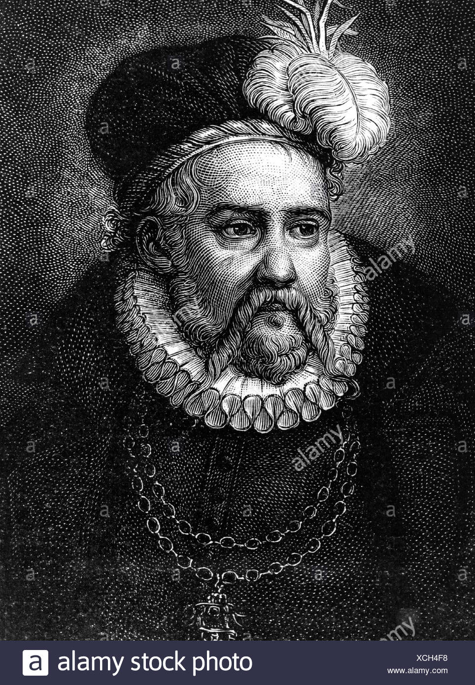 Brahe, Tycho, 14.12.1546 - 24.10.1601, Danish astronomer, portrait, engraving, nobleman, Tyge, , Artist's Copyright has not to be cleared - Stock Image
