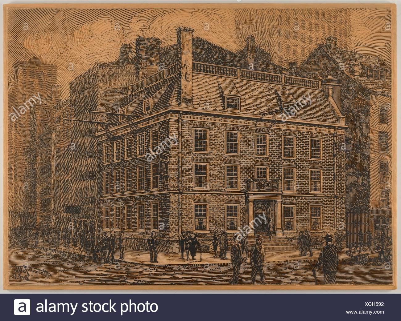 Old Fraunce's Tavern, New York. Artist: Charles Macowin Tuttle (American, 1861-1935); Date: 1880-1935; Medium: Wood engraving block; Dimensions: - Stock Image