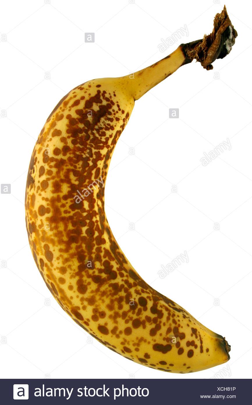 isolated skin black swarthy jetblack deep black soft over fruit banana rotten - Stock Image