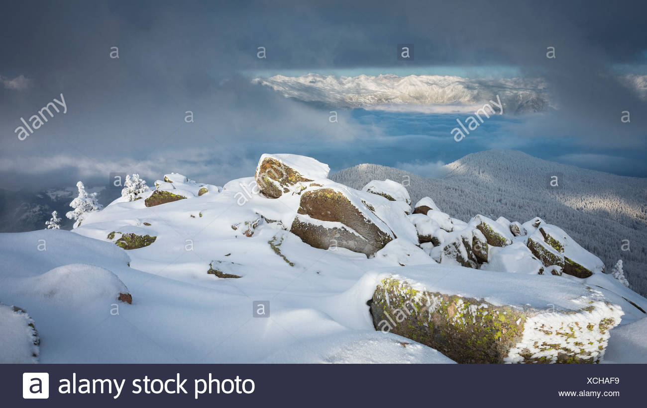 a suggestive landscape from the peak of Rasciesa Mount (Raschötz) in an early morning after a snowfall, Val Gardena, Bolzano province, South Tyrol, Trentino Alto Adige, Italy, Europe - Stock Image