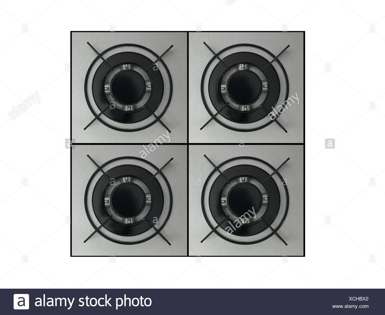 Gas burners isolated against a white background - Stock Image