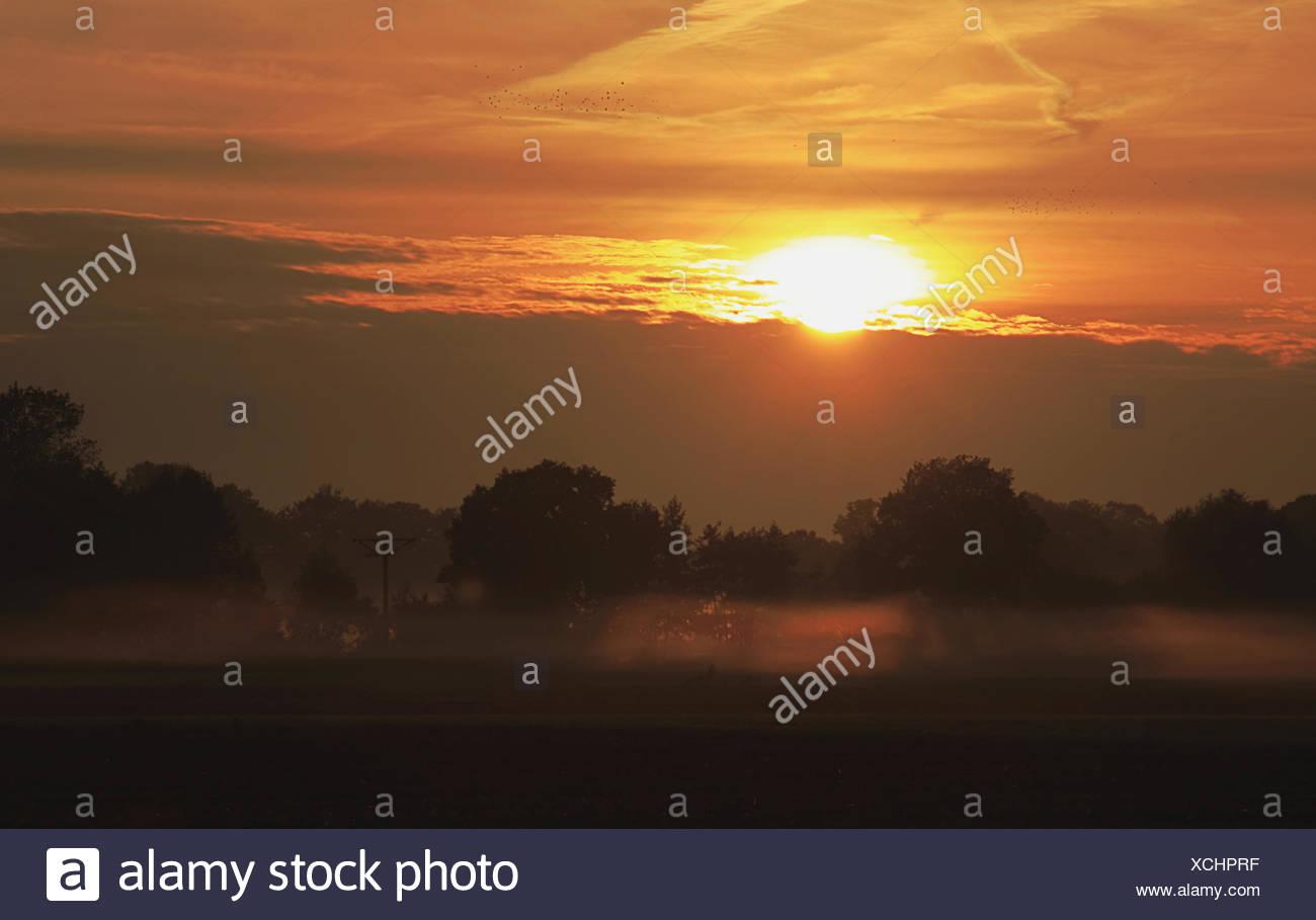 Sunrise on a morning in autumn Stock Photo