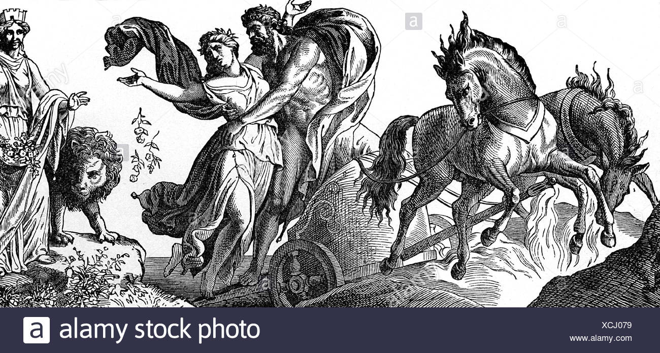 Pluto, Roman god of the underworld, abducting Persephone, wood engraving, 19th century, Additional-Rights-Clearances-NA - Stock Image
