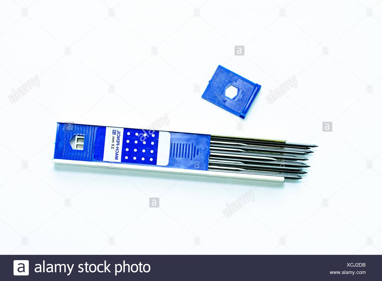 Mechanical pencil lead refills - Stock Image
