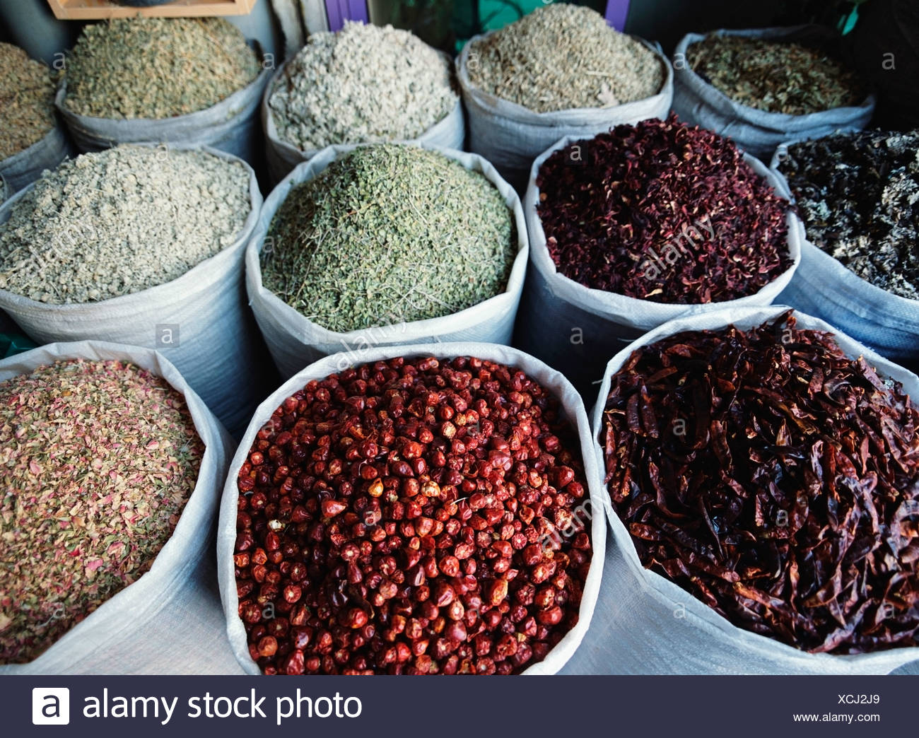Sacks Of Spices - Stock Image