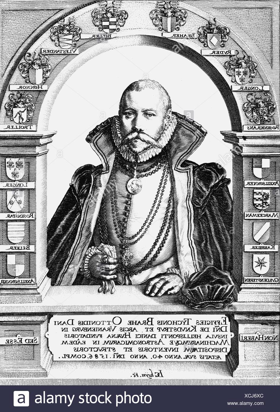 Brahe, Tycho, 14.12.1546 - 24.10.1601, Danish astronomer, at the age of fourty, half length, copper engraving by Jakob de Gheyn, 1587, Artist's Copyright has not to be cleared - Stock Image