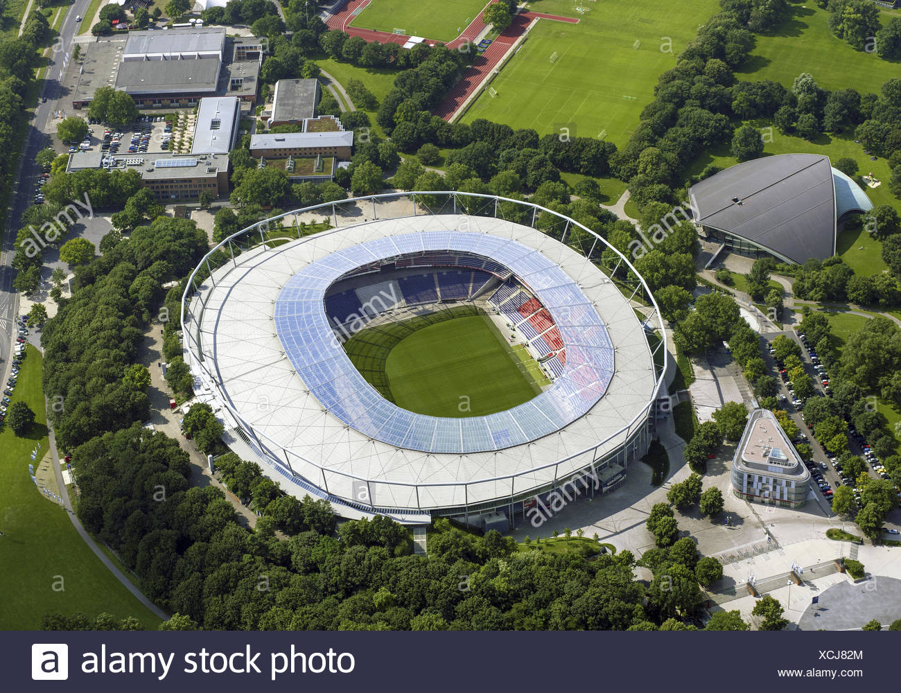 Fussballstadion, AWD-Arena, Hannover, Luftaufnahme - Stock Image