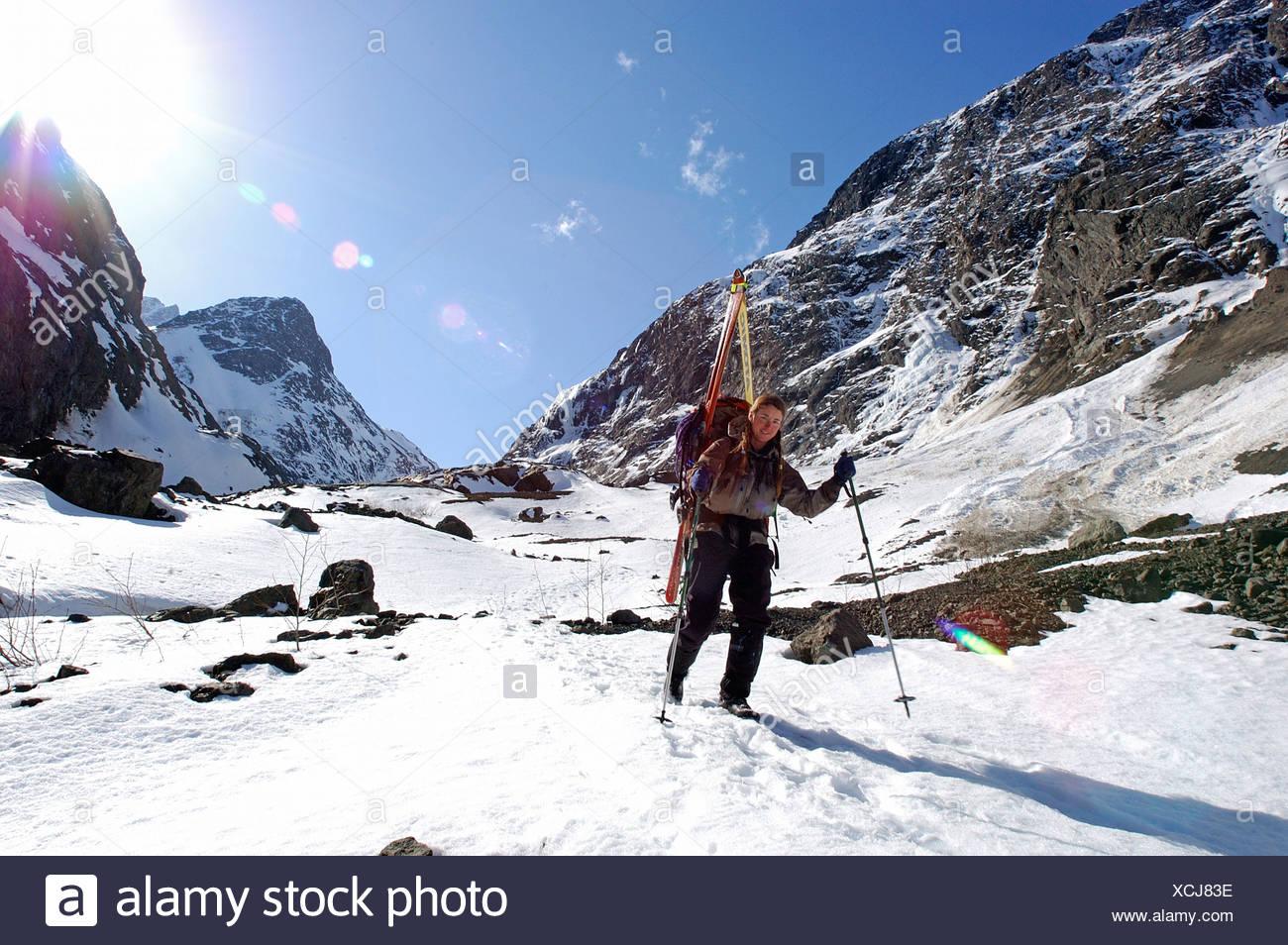 Women Mountaineers Descend Eklutna Glacier SC Alaska Spring Chugach Mtns - Stock Image