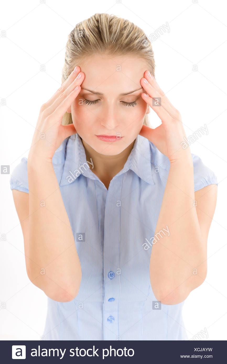 woman headache suffer - Stock Image