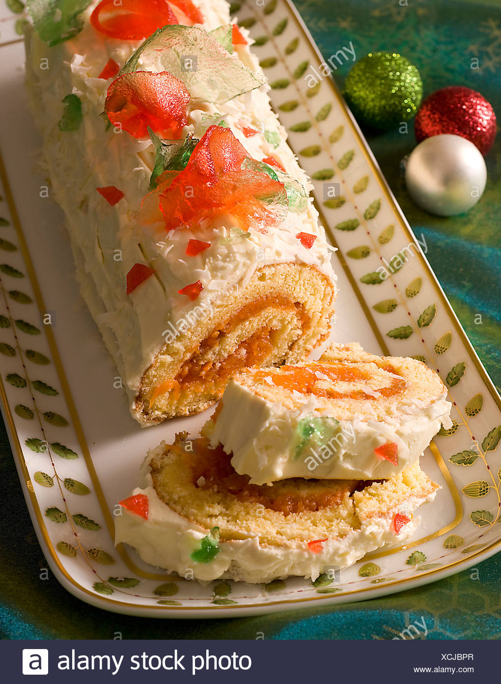 Mango and Coconut Yule Log - Stock Image