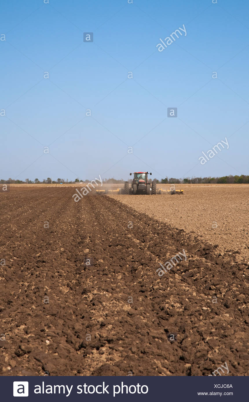 A Case IH tractor and field implement prepare bedded soil in a field in late Spring for the planting of corn / Arkansas, USA. - Stock Image