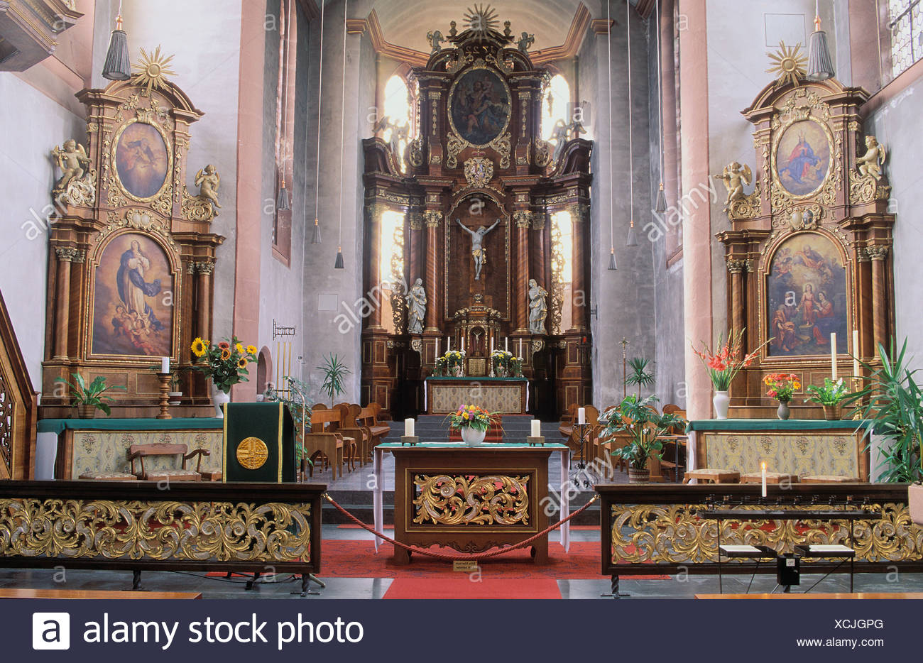 Interior view, Hunsrueckdom, Hunsrueck Cathedral, Saint Christopher's Church, Augustinian canonical foundation - Stock Image