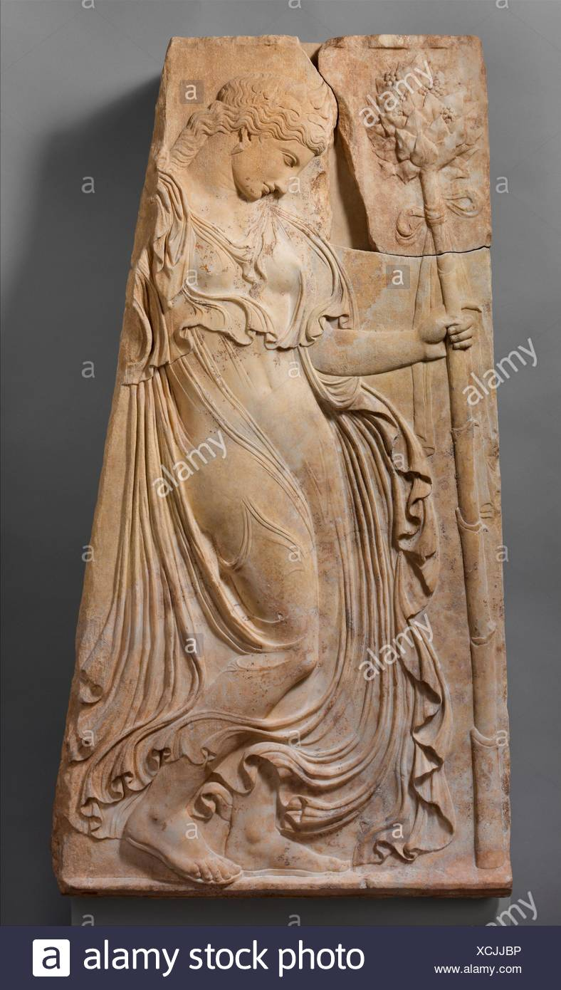 Marble relief with a dancing maenad. Adaptation of work attributed to Kallimachos; Period: Early Imperial, Augustan; Date: ca. 27 B.C.-A.D. 14; Stock Photo