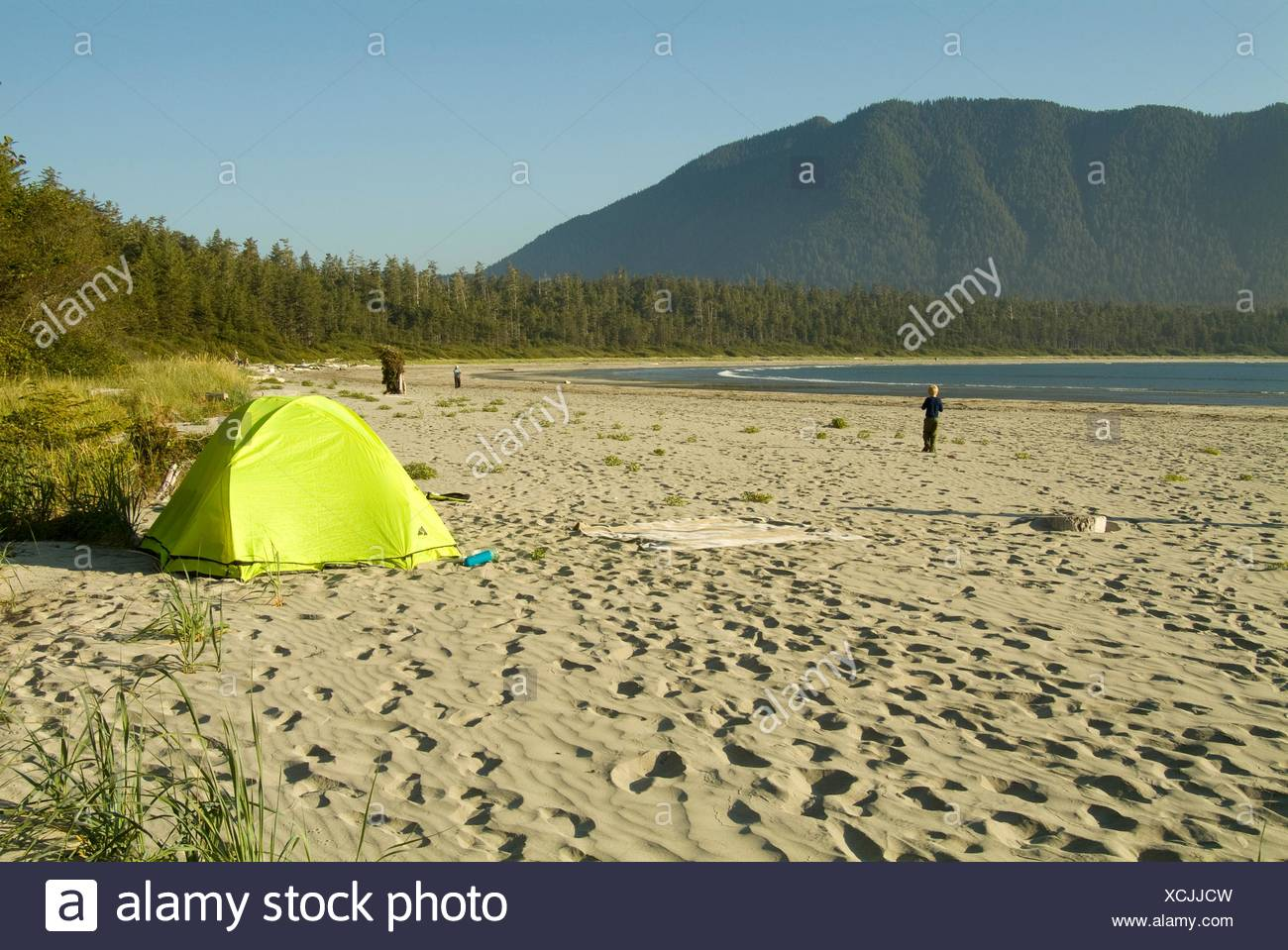 a tent on the beach on Flores Island Clayoquot Sound British Columbia Canada & a tent on the beach on Flores Island Clayoquot Sound British ...