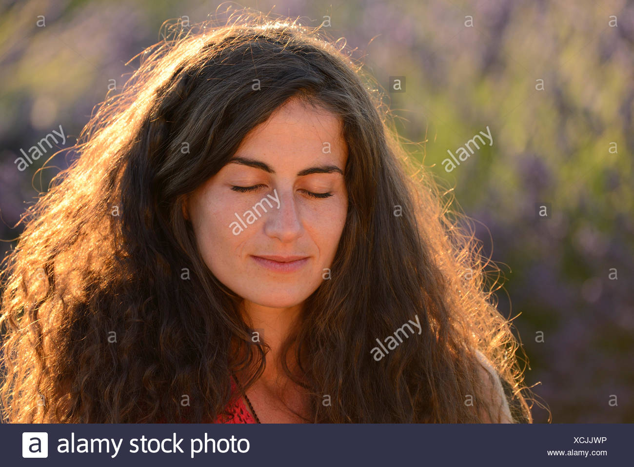Europe France Provence Vaucluse Lavender Field Woman Dream Dreaming Red Dress Bloom Blooming Nature Girl French Brunette H