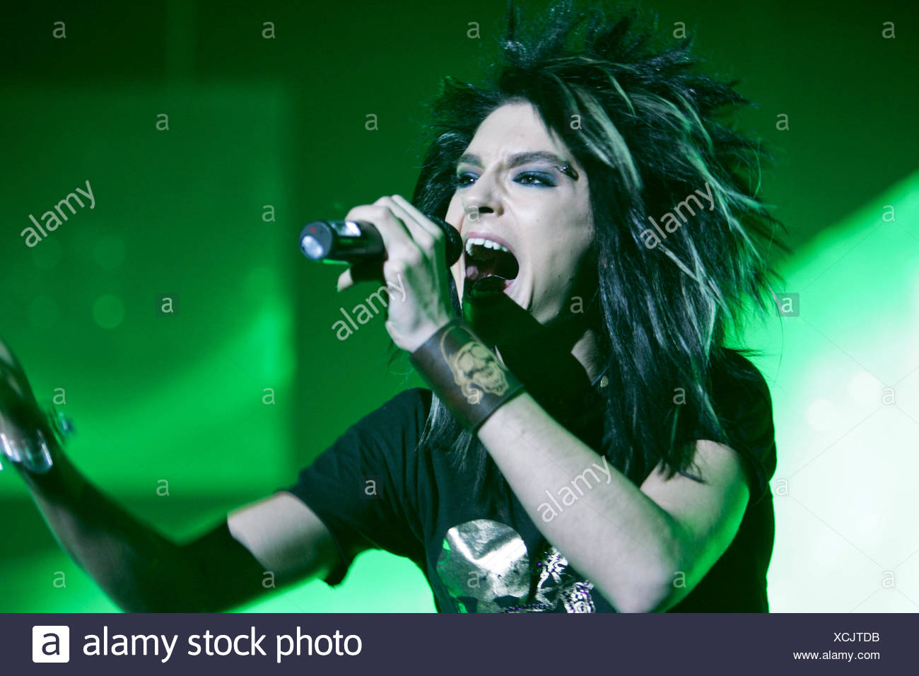 Bill Kaulitz, singer and frontman of the German rock and pop band 'Tokio Hotel', playing live at the Hallenstadion in Oerlikon - Stock Image