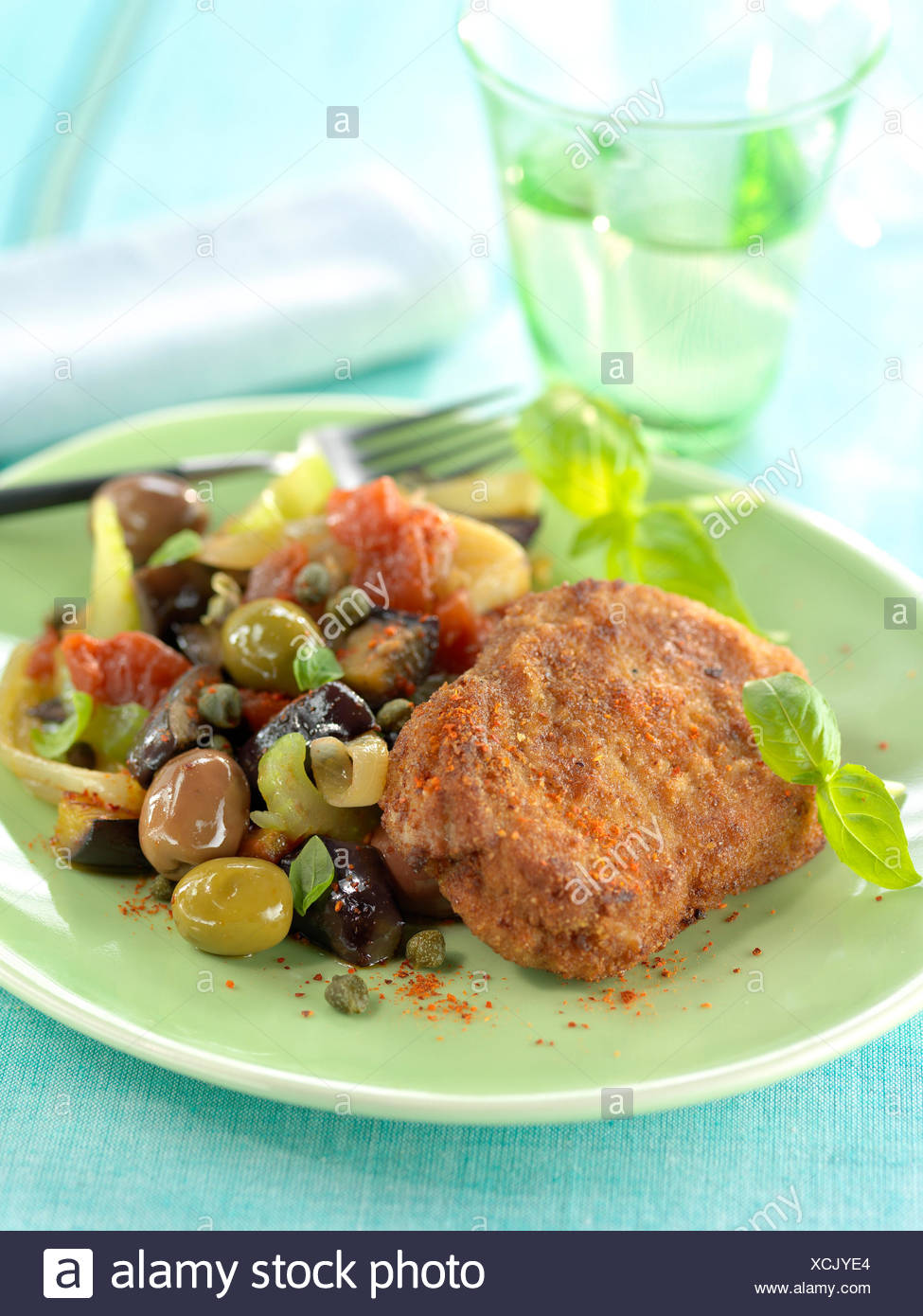 Crisp grenadine of veal with caponata - Stock Image