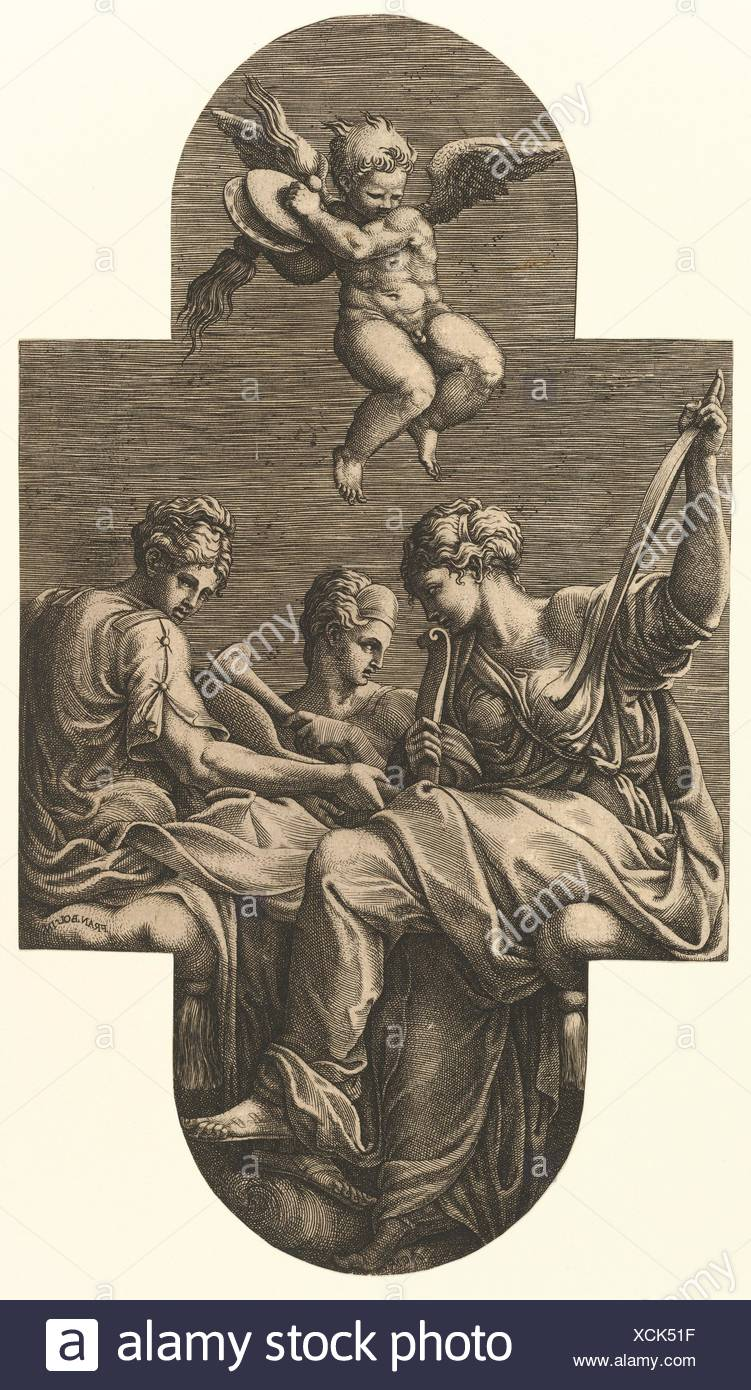 Three Muses and a Putto with Cymbals, from a series of eight compositions after Francesco Primaticcio's designs for the ceiling of the Ulysses - Stock Image