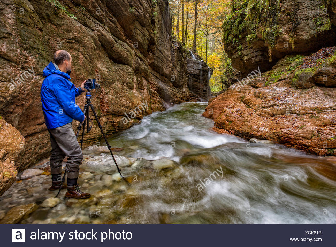 Austria, Tennegau, Photographer standing at Taugl river Stock Photo