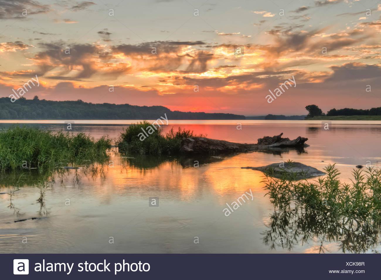 Above Seneca Breaks on the Potomac River, at sunset. - Stock Image