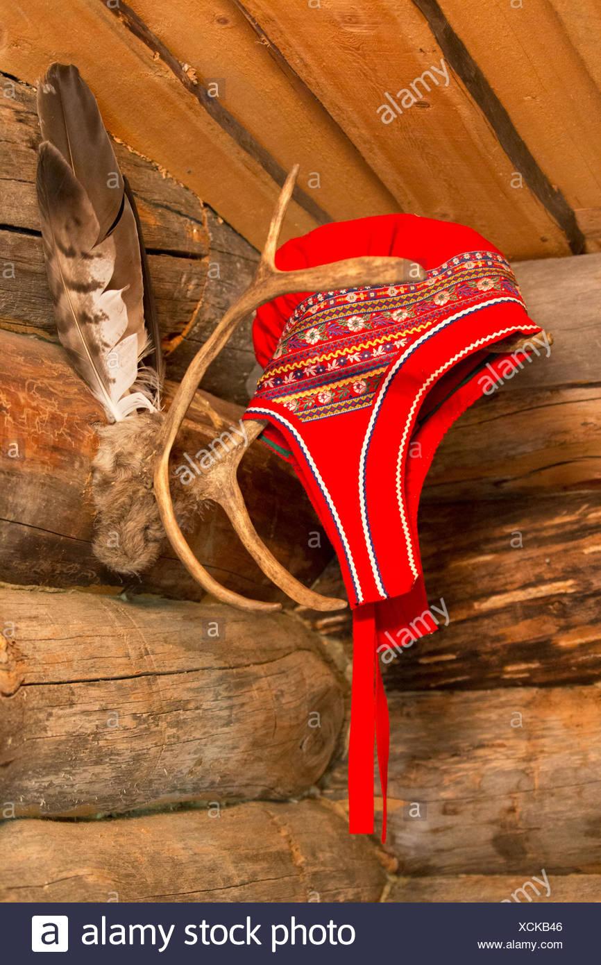 Woman's headwear in sámi regions of Lapland, Finland - Stock Image