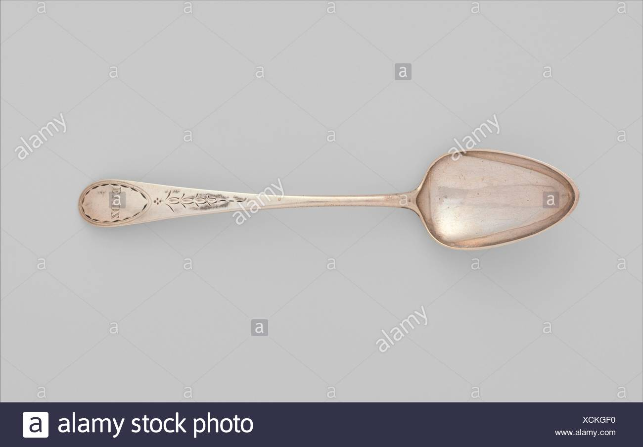 Spoon. Maker: Isaac Hutton (American, New York 1766-1855 Albany, New York); Date: 1770-1830; Geography: Made in Albany, New York, United States; - Stock Image