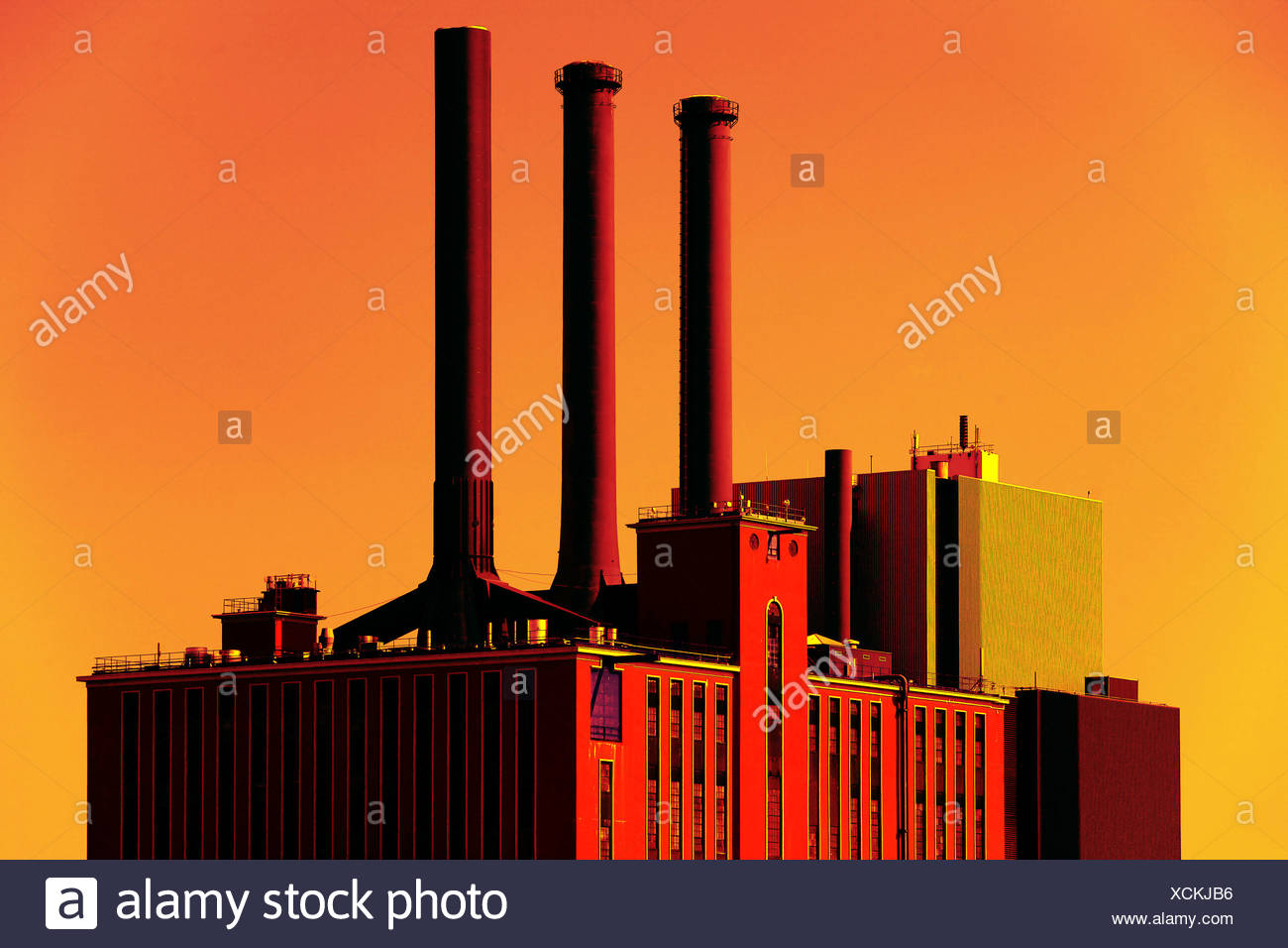 Combined power and heating station, Denmark - Stock Image