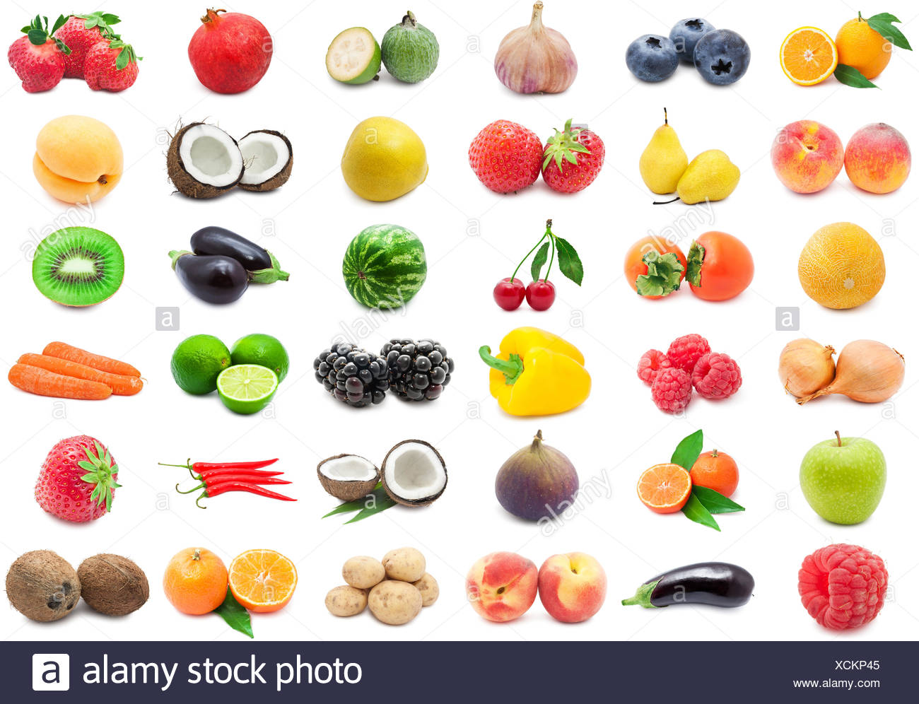 Collection of various fruits and vegetables isolated on white background - Stock Image