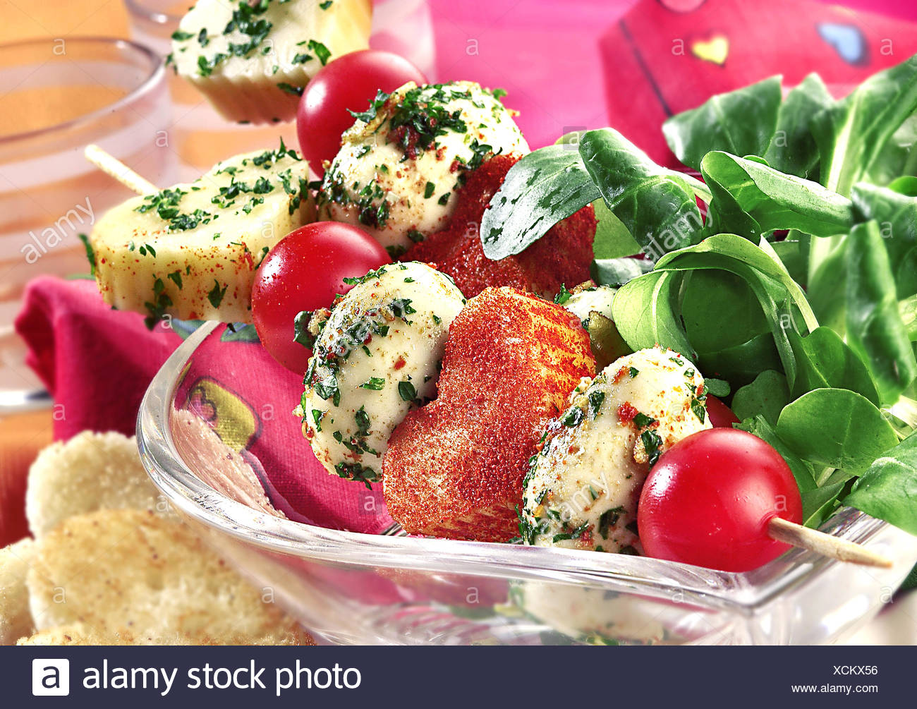 St. Valentine Skewers with Cheese and Eggs - Stock Image