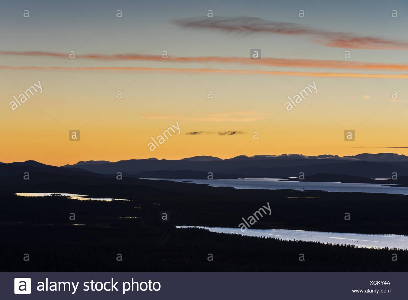 Evening mood, Lapland, Sweden Stock Photo