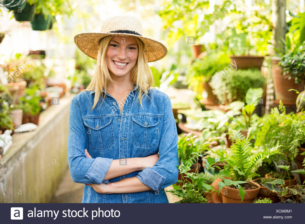 Young female gardener at greenhouse - Stock Image