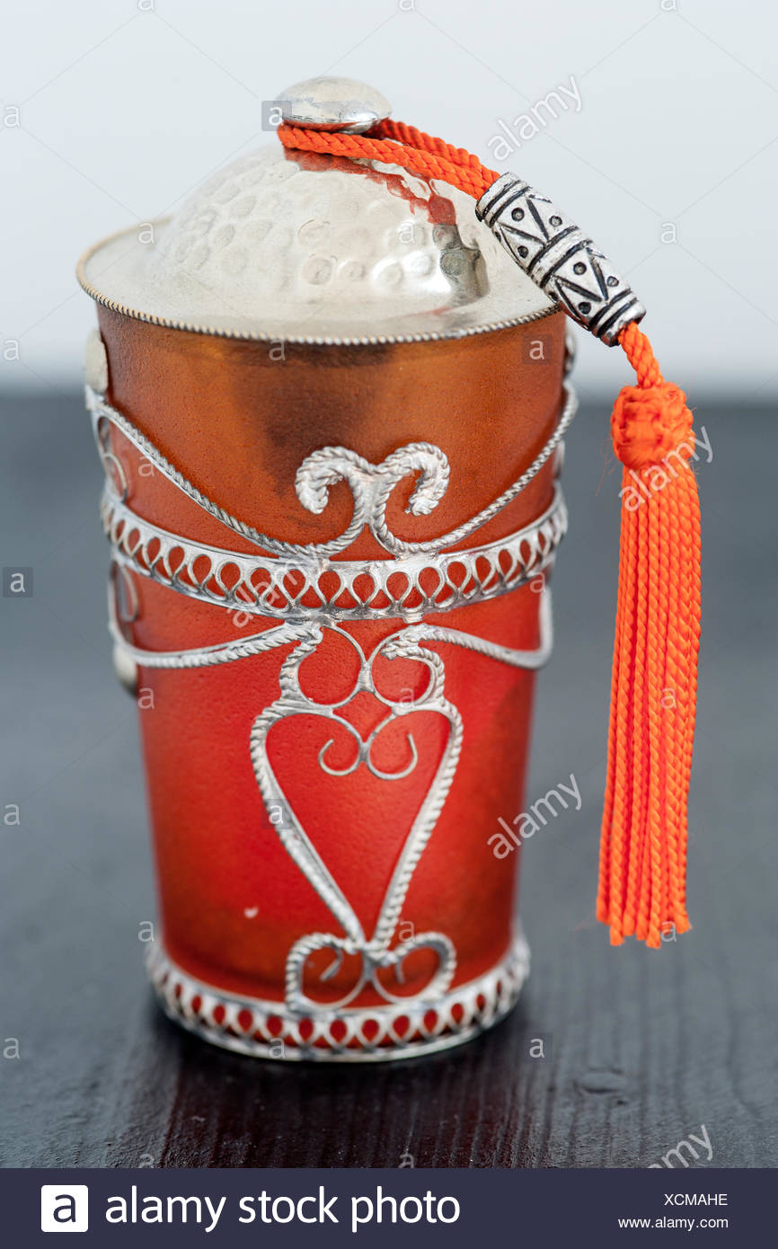 Decorative candle holder in a riad in Morocco Stock Photo: 283189130
