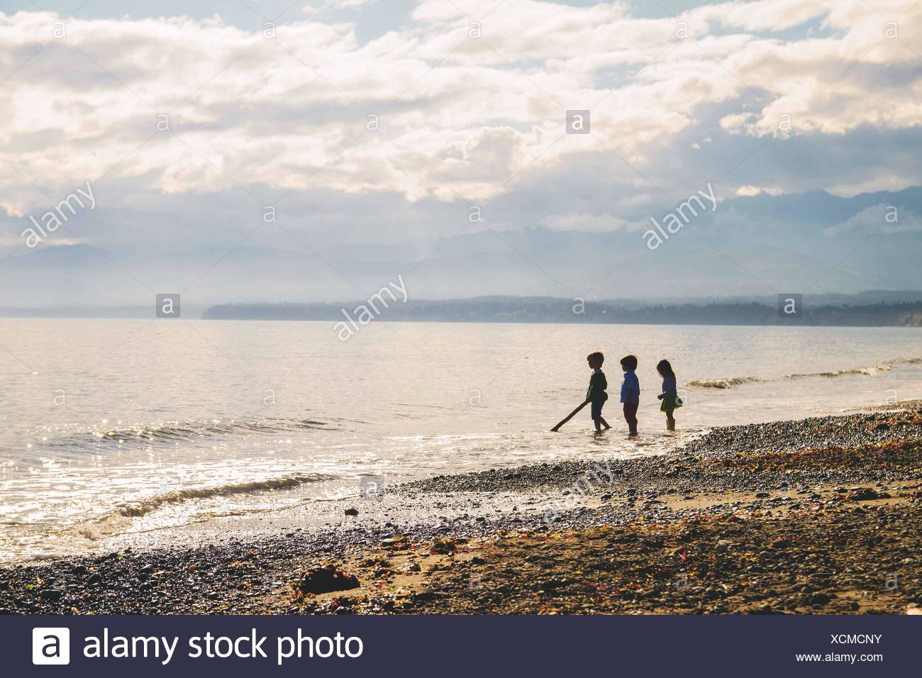 Three young children (2-3, 4-5) standing in silhouette on beach - Stock Image