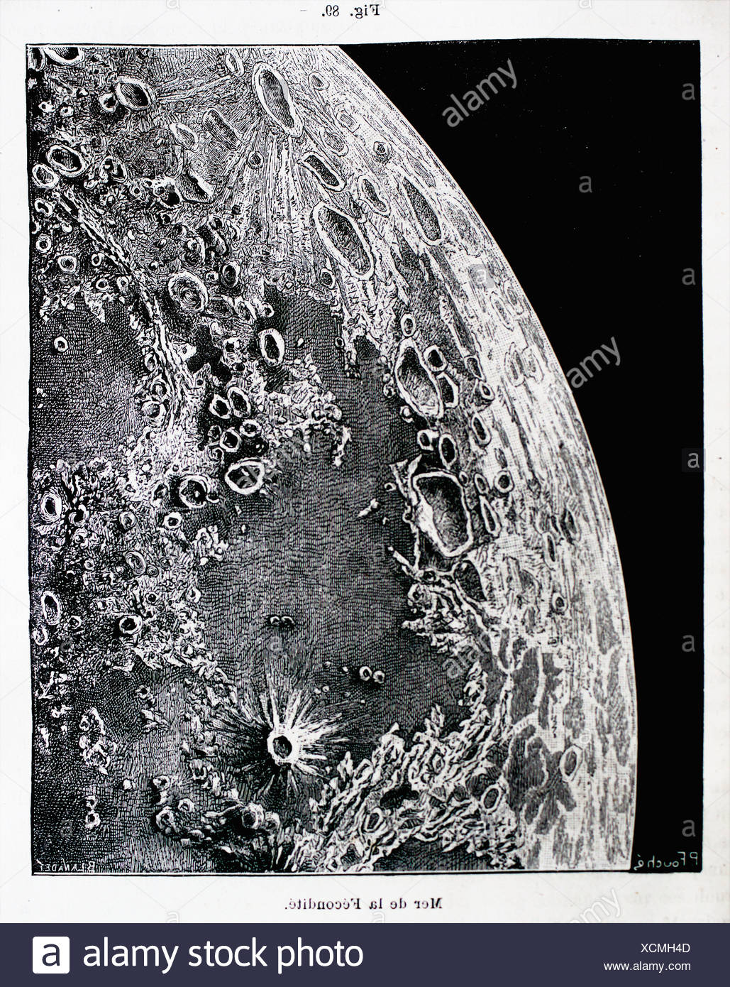 Lunar geography: Sea of Fecundity, ´L´Astronomie´ journal by Camille Flammarion, 1883 - Stock Image